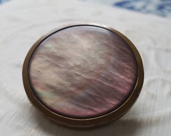 Vintage Buttons - Amazing mother of pearl, 1  large size design metal back Marked Paris on the back Victorian(July 375 17)