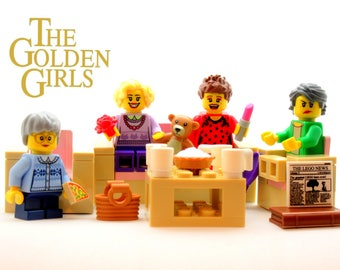 Golden Girls® Custom Figure SET + 13 Accessories & Furniture *SALE* Fan Art Crafted With LEGO® Elements