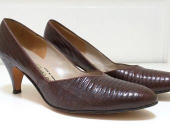 Vintage Brown Genuine Reptile Shoes Heels Womens 8 AA Narrow Thos Cort 80s