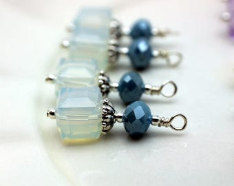 Opal Square Cube Crystal and Slate Blue Rondelle Earring Dangle, Pendant, Earrings, Jewelry Making