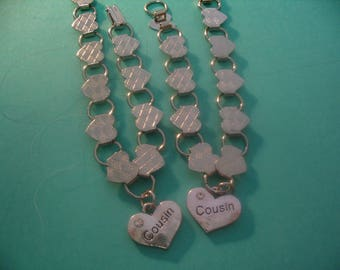Two Cousins Heart Charm Bracelets  Jewelry Gift