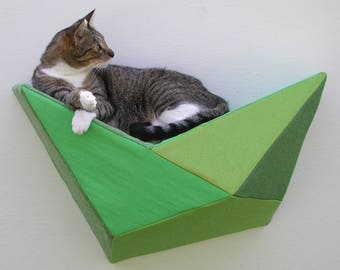 Wall bed geometric modern cat shelf in lime, spring, avocado, and olive greens