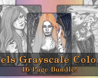 GRAYSCALE Coloring Book Pages PRINTABLE Digital Download Gothic Angels Art Women Tattoos Fantasy Portraits Adult Coloring