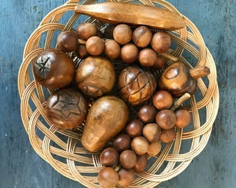 carved wooden fruit - mid century monkey pod wood fruit and veggies - table centerpiece