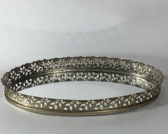 Vintage Ornate Mirrored Vanity Tray - Large Oval Gold Tone Metal Filigree Mirror Tray - Jewelry Perfume Bar Vanity Dresser