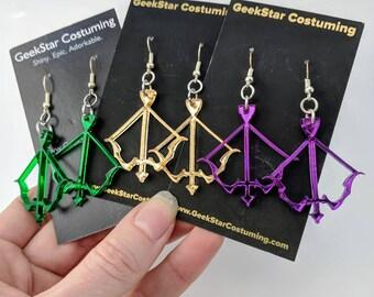 Bow and Arrow Earrings, Lasercut Acrylic GeekStar Zelda Katness Hawkeye Green Arrow Weapon Jewelry
