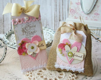 Hello Friend Shabby  Chic Handmade Tag and Burlap Bag Set