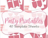 Party printable templates bundle, 40 template sheets, cupcake wrapper topper, gift tags, pennant, design your own, commercial use, (B03)