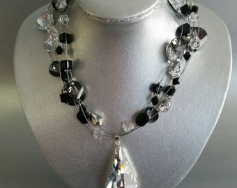 Swarovski Crystal Pendant Floating Necklace in Black and Silver