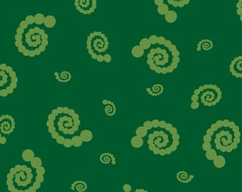 STUDIO 37 A Shout, A Whisper, A Text Swirly Pearl Girl Green 7748-0114 Yardage, Sarah Maxwell Designs by Sarah J