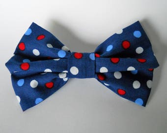 Dog Collar Bow Tie-  4th Of July Dots BowTie