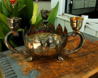 Vintage Silver-Plated 3 Footed Candle Holder Lotus Bowl Centerpiece / Hong Kong