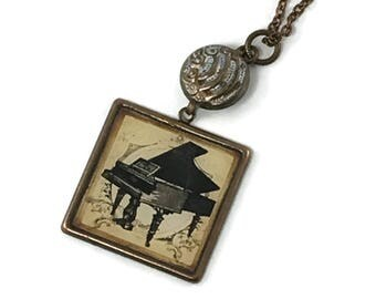 Piano Pendant Necklace on long brass chain, Gift for Musician, Music Gift