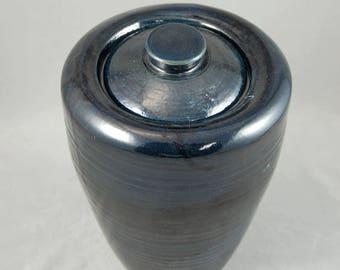 SALE, Lidded Jar Large in Black Lapis, 50 Percent Off, Kitchen Canister, Cookie Jar, Ceramic Jar with Top