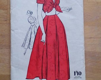"1950s Sun Frock - Top & Skirt - 34"" Bust - Weldons 3683 - Vintage Sewing Pattern"