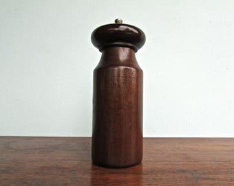 Mid Century Danish Modern Pepper Grinder, Stainless Steel & Dark Walnut, Made in USA