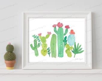 Cactus Watercolor Art Print - 8x10 / Cactus Art / Kids Room Decor / Nursery Decor