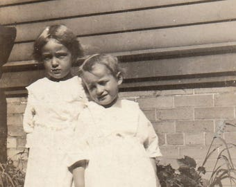 Original Vintage Photograph Snapshot Small Girls Sisters Pose Outdoors 1910s-20s