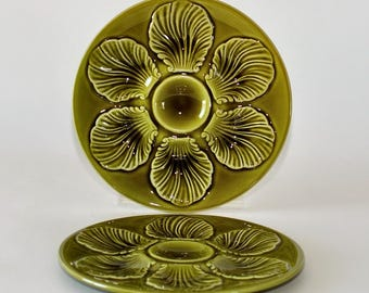 Vintage Proceram France Green Majolica Oyster Plates, Pair, circa 1950s