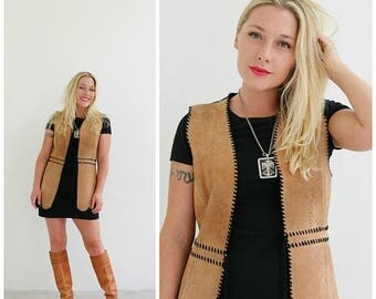 ON SALE 1970s Tami Suede Vest /// Size Extra Small to Small