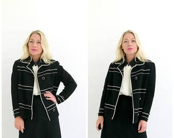 ANNIVERSARY SALE 1950s Wool Stripe Jacket /// Size Medium to Large