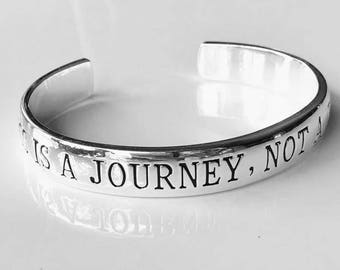 Happiness is a Journey Not a Destination Cuff Bracelet