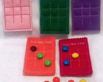 SALE Felt Tic Tac Toe Mat - eco friendly f elt - Felt board with bag and you add the candy pieces - game -  #3904