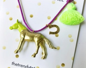 Girls Horse Necklace. Horse Necklace. Kids Necklace. Kids Horse Necklace. Kids Jewelry. Girl Jewelry. Horse Lover gift. Kids Boho Jewelry.