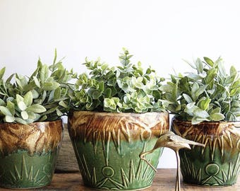 Vintage Robinson Ransbottom Flowerpots Flower Pots Planters Sun Burst Design 1940s Art Pottery Blended Green and Brown Glaze Home or Garden