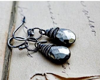Summer Sale SALE Pyrite Earrings, Dangle Earrings, Fools Gold, Slate Gray, Wire Wrapped, Pyrite Jewelry, Drop Earrings, Sterling Silver, Pol