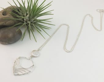 Sterling Silver Petal and White Coin Pearl Necklace- N440SS-WP -handmade wire jewelry by cristysjewelry