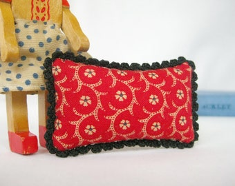 Miniature Pillow with Cozy Crochet - FOR YOUR DOLL in Vintage Red