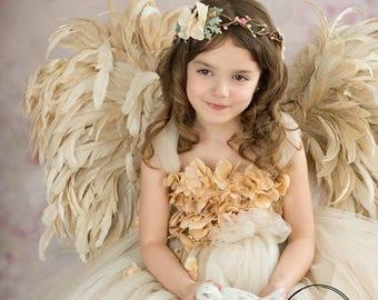 Flower girl dress, Champagne Dress, Champagne tutu dress, Photo Prop, Flower Top Tutu Dress, Cascading flowers