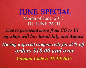 JUNE SPECIAL COUPON, Jewelry Making Supplies, Coupon Code good to until June 26th