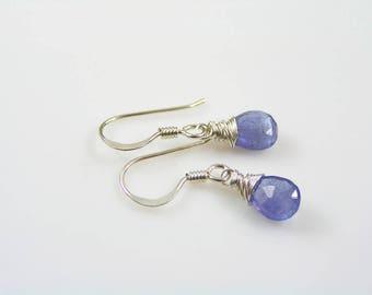 Tanzanite Earrings in Sterling Silver, Tanzanite Jewelry, Gemstone Earrings, Gift for Women, Tanzanite Crystal Earrings, E2445