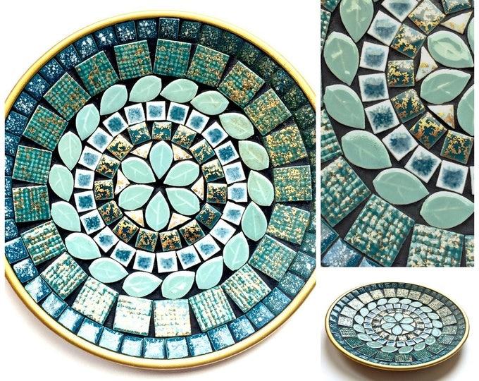 Mid Century Mosaic Dish, Vintage Aqua Mosaic Dish, Teal Mosaic Decorative Dish, MidCentury Aqua Mosaic Plate, 7.5 Inch Turquoise Mosaic Tray