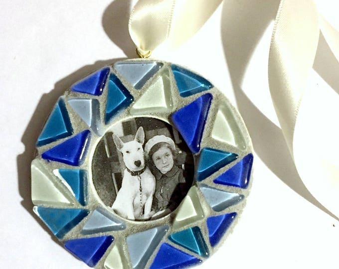 Mosaic Frame Ornament, Blue Glass Tile Mosaic Frame Ornament, Hanging Frame, Blue White Mosaic Ornament, Hanging Mosaic Frame