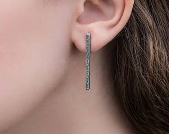 Silver Bar Post Earrings- Antiqued