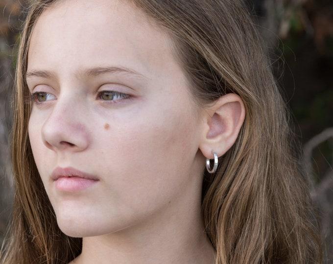Sterling Silver Hoop Earrings, Shiny 18mm x 2mm