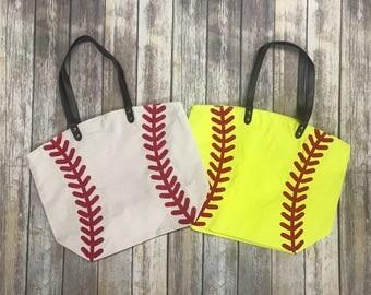 Monogram Softball Canvas Tote Bag~Jute tote~Sports Tote