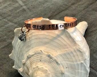 Copper Letter Stamped Cuff