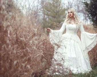 Custom Order! Gwendolyn Princess Fairy Medieval Velvet and Lace Wedding Gown Your size/color
