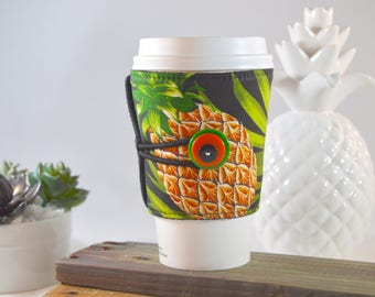 Pineapple Coffee Cup Cozy, Multicolored Fruit Hot Beverage Java Sleeve, Gift for Tea Lover Friend Teacher, Morning Travel Present