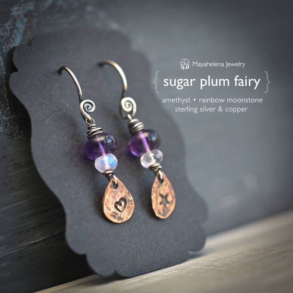 Sugar Plum Fairy  - Amethyst and Rainbow Moonstone Drop Sterling Silver Earrings with Copper Accents