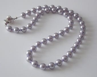 CB 207 Mauve Swarovski Pearl Necklace and Earrings
