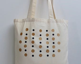 Shopping bag, tote bag, canvas bag, shoulder bag, Glitter spot print cotton shoulder bag.