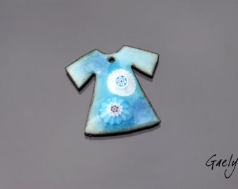 Enamel on copper - plated enamel sky / blue provence - mouse - charm small tunic - Gaelys