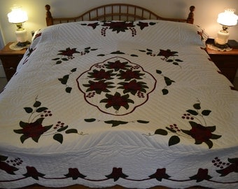 "Amish Celtic Rose Lg Queen/King quilt, 97"" x 115"""