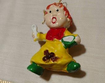 Little Miss Muffet vintage nursery rhyme blow mold ornament