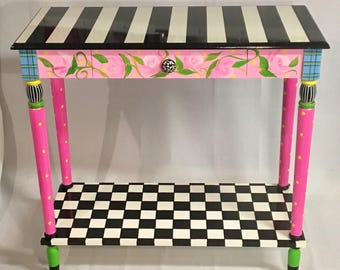 Whimsical Painted Furniture, Painted Console Table, Whimsical Painted  Table, Black And White Checkered